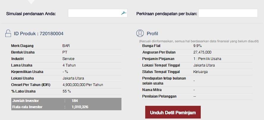browse loan - telusuri pinjaman produk investasi koinworks - detail pinjaman