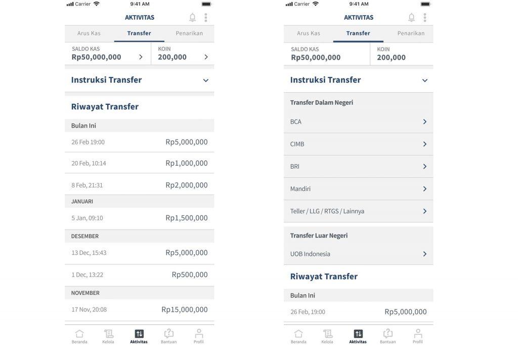koinworks - halaman aktivitas - transfer