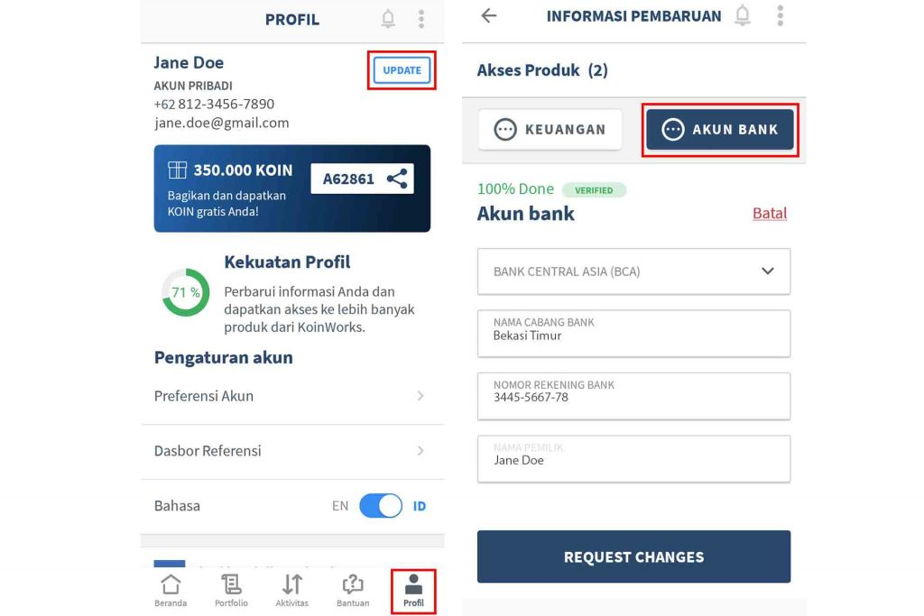 Update Data Akun Rekening Bank