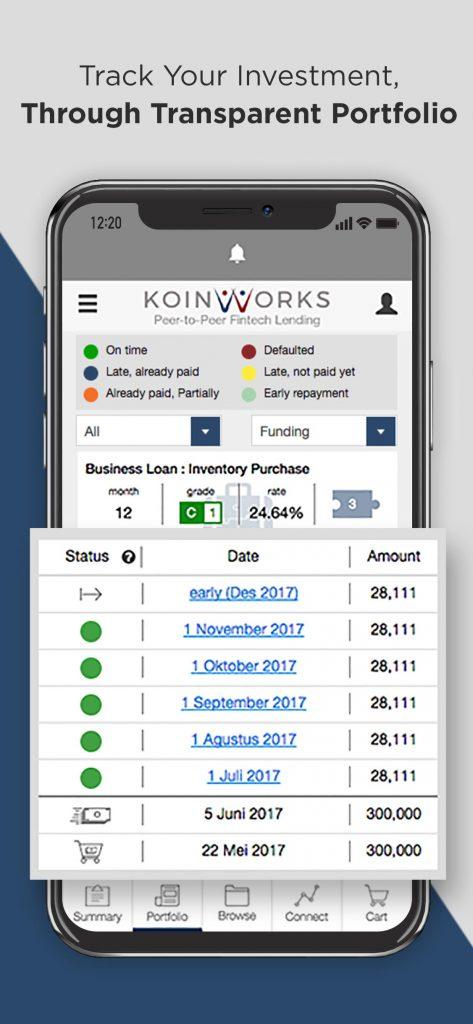aplikasi KoinWorks android ios Portfolio