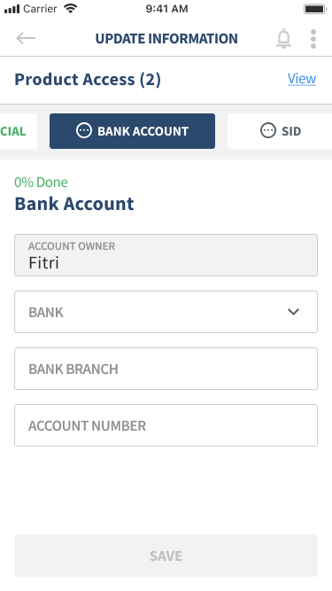 Profile Update - Bank Account