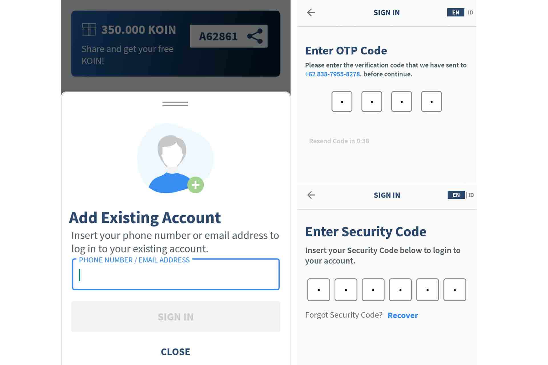 switch account - add existing account