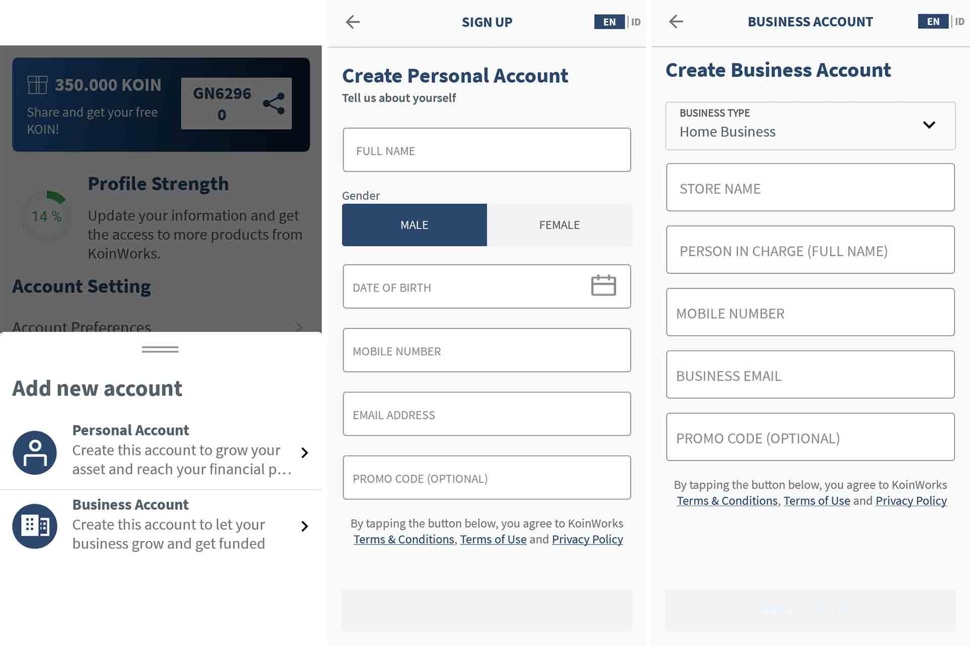 switch account - add new account