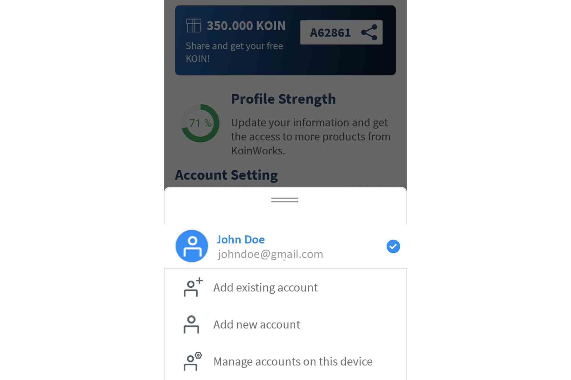 switch account - halaman profile - 2