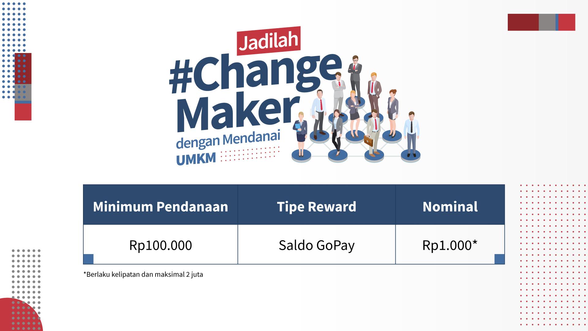 [PROMO] Jadilah #ChangeMaker dengan Mendanai UMKM, Nikmati Cashback-nya!